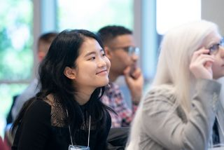 Holly Huang (UCLA) enjoying the keynote lecture.