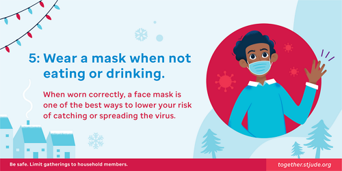 Wear a mask when not eating or drinking. When worn correctly, a face mask is one of the best ways to lower your risk of catching or spreading the virus.