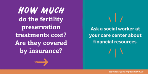 How much do the fertility preservation treatments cost? Are they covered by insurance? Ask a social worker at your care center about financial resources.