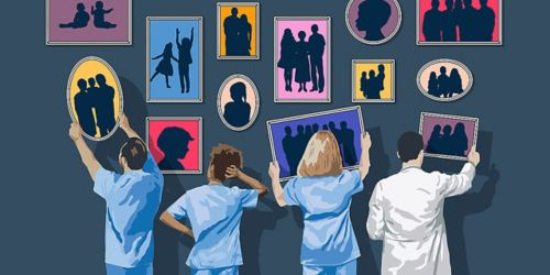 Illustration of people hanging pictures on the wall.