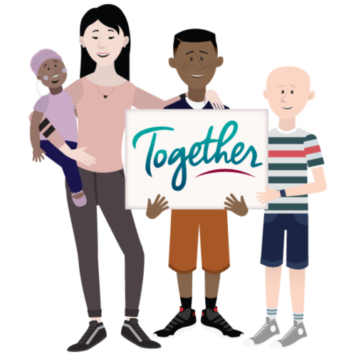 "A group of cartoon characters holding a sign that says ""Together."""
