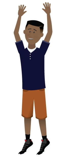 Cartoon boy with his arms in the air.