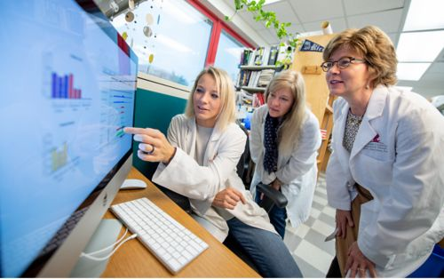 Research faculty member and students looking at computer screen