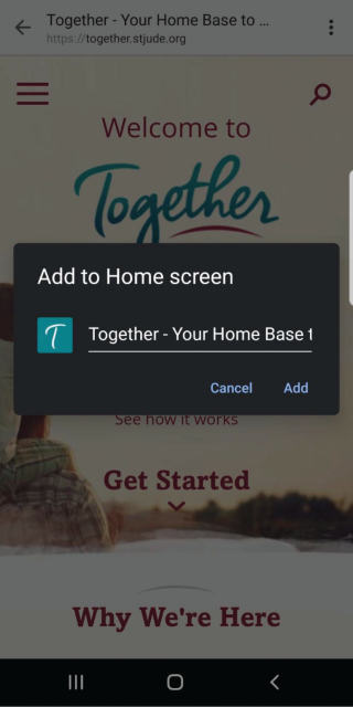 Screenshot of Android highlighting how to add a bookmark to the home screen.