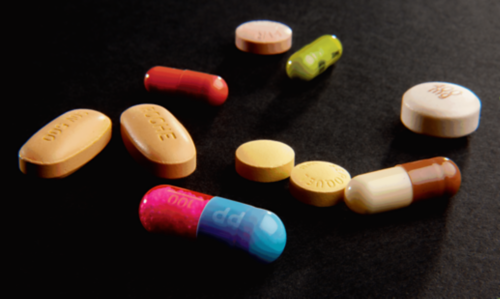 A collection of pills and tablets.