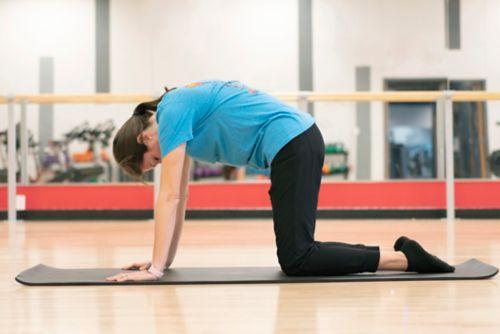 yoga instructor doing cat pose