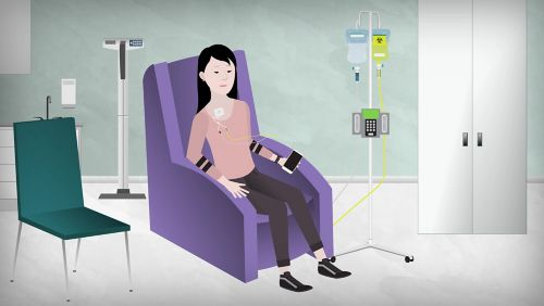 An illustration of a patient in a chair in a hospital room receiving chemotherapy.