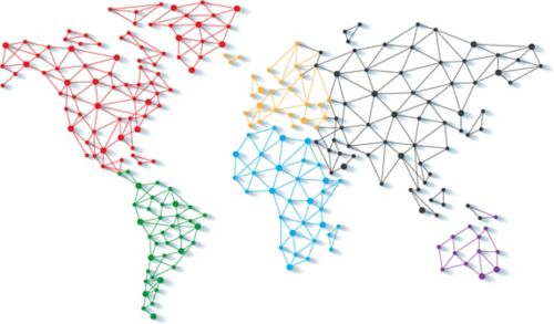 Illustration of networked continents