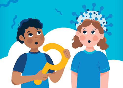 An illustration of a young boy and young girl wondering about the coronavirus.