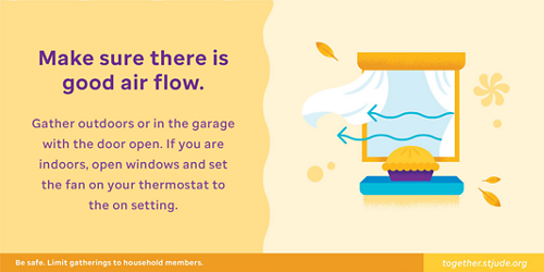 Make sure there is good air flow. Gather outdoors or in the garage with the door open. If you are indoors, open windows and set the fan on your thermostat to the On setting.