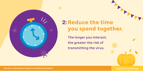 Reduce the time you spend together. The longer you interact, the greater the risk of transmitting the virus.