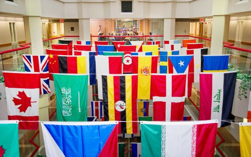 Flags in Danny Thomas atrium