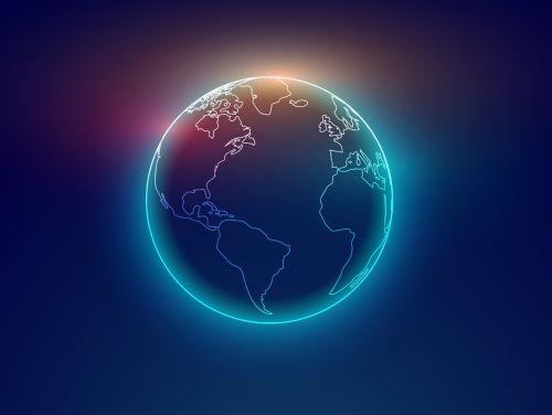 People standing around globe