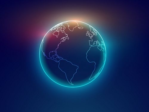 Dark blue Illustration of glowing globe with continents outlined in white