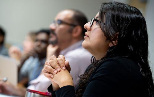 Female graduate school student in classroom