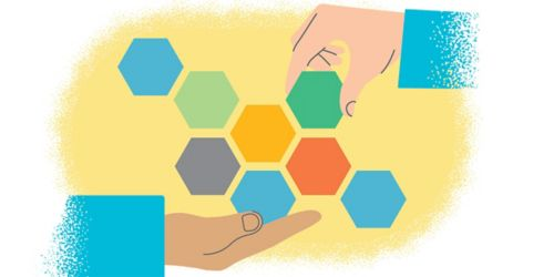 graphic of hand holding blocks