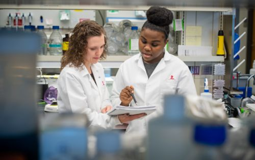 Two female researchers in lab