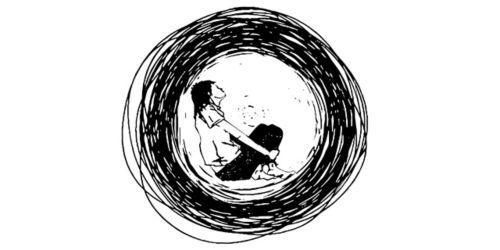 sketch of adolescent huddled inside series of circles
