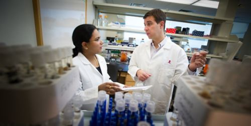 Photo of two people talking in a lab