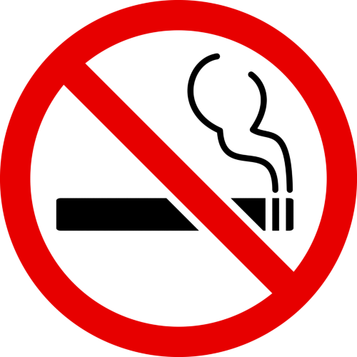"This image includes the icon of a smoking cigarette with a red circle and a line drawn through it indicating ""No Smoking""."