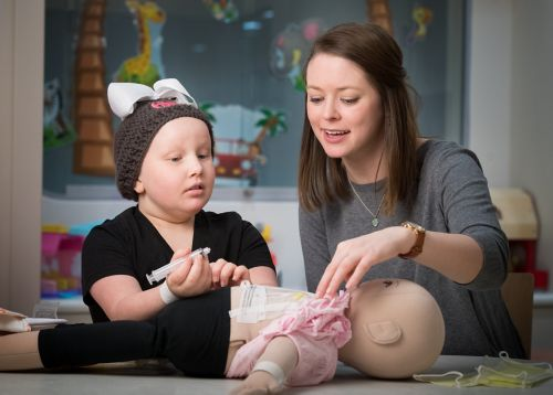 Child Life Specialist engages a young cancer patient in medical play to prepare her for an exam.