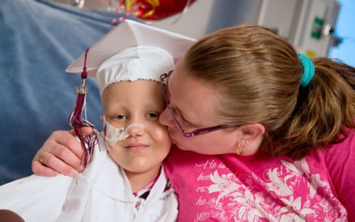 Pediatric cancer patient receives kiss and hug from mom as she graduates from kindergarten