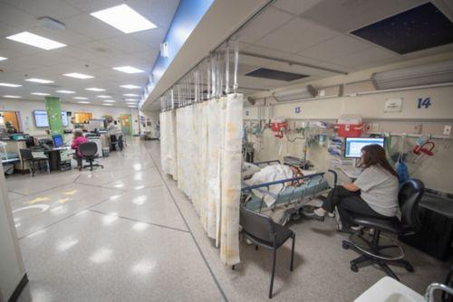 Les médicaments d'anesthésie générale sont souvent administrés par voie intraveineuse. L'infirmière cherche une zone où poser la voie intraveineuse.