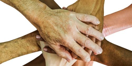 image of overlapping hands