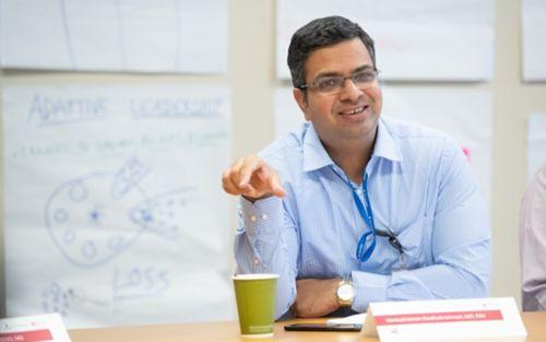 Male graduate student in classroom