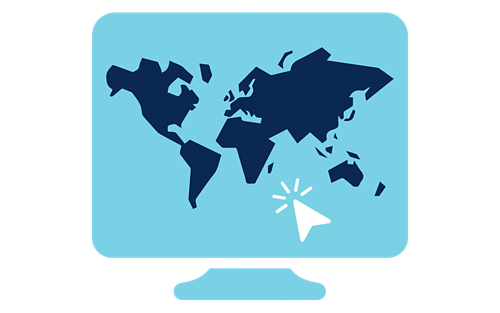 Computer screen icon with global map