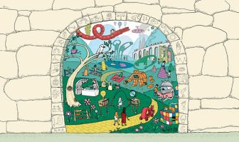 Illustration depicting all the different things that occur during rehabilitation through an arch with symbols representing different rehabilitation ideas. A path goes between many things going on, such as jumping rope, reading and children playing.