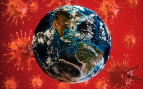 Illustration of earth with red coronavirus images in background