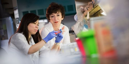 Photo of Martine Roussel in lab