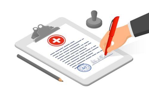 Gráfico de una hoja de papel en un portapapeles y una mano que firma el documento en la parte inferior.