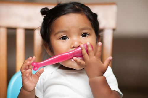 Child-friendly utensils, plates, bowls, and cups can help children eat and drink more easily.