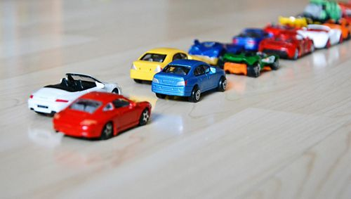 A line of toy cars