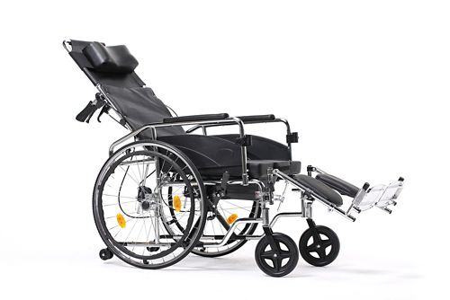A reclining wheelchair is like a standard chair, but the seat back can be reclined as needed.