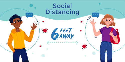 Social distancing means keeping 6 feet of space between people to help prevent the spread of illness. This illustration shows two characters on a sidewalk with a dotted line indicating 6 feet of distance.