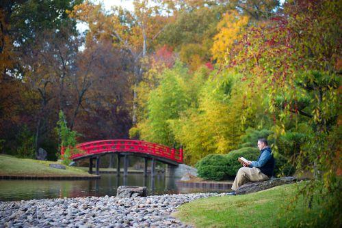 Hombre sentado cerca de un estanque con un puente rojo mientras lee un libro en una tarde de otoño.