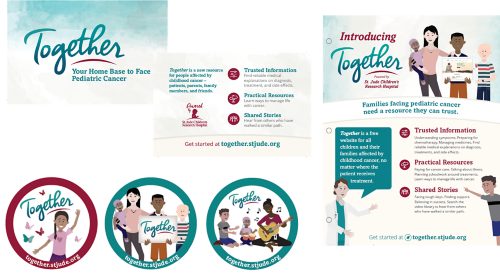 Share Together with families facing pediatric cancer using our starter kit. The starter kit includes wallet cards, stickers, and flyers.