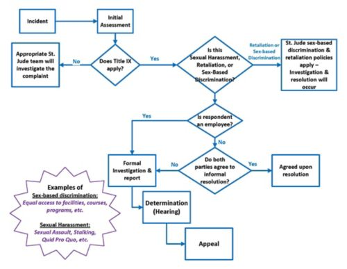 graphic showing process of filing Title IX complaint