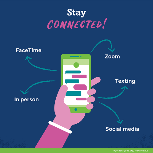 Stay connected! FaceTime, Zoom, In person, Texting, Social Media