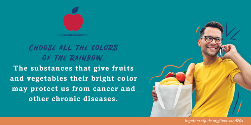 Choose all the colors of the rainbow. The substances that give fruits and vegetables their bright color may protect us from cancer and other chronic diseases.