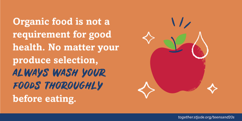 Organic food is not a requirement for good health. No matter your produce selection, always wash your foods thoroughly before eating.