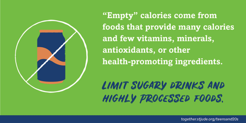 """Empty"" calories come from foods that provide many calories and few vitamins, minerals, antioxidants, or other health-promoting ingredients. Limit sugary drinks and highly processed foods."