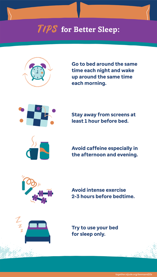 Tips for better sleep: Go to bed around the same time each night and wake up around the same time each morning; stay away from screens at least 1 hour before bed; avoid caffeine especially in the afternoon and evening; avoid intense exercise 2-3 hours before bedtime; try to use your bed for sleep only.