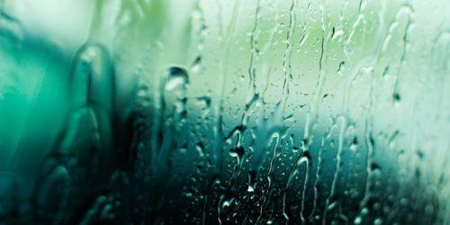 Water running down glass